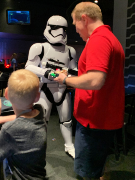 A stormtrooper patrolling the Star Wars Dessert Party