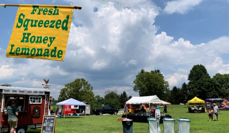 The Field Containing Food Trucks at Shaker Village of Pleasant Hill Craft Show