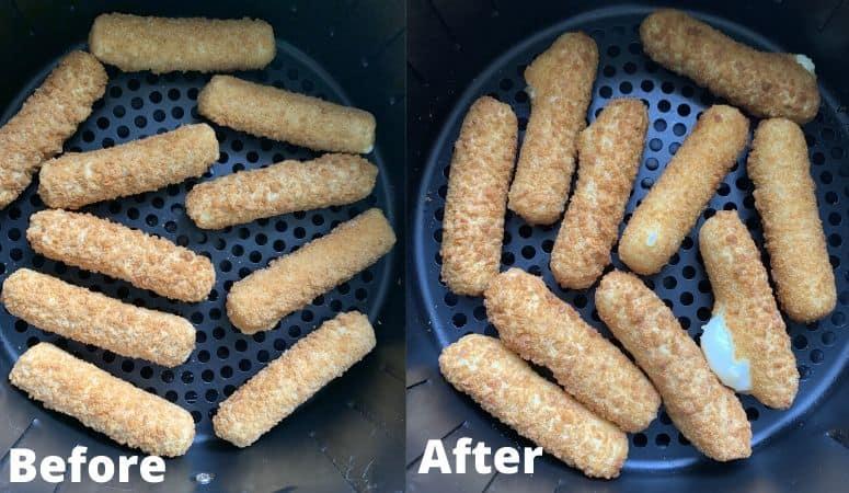 frozen cheese sticks in an air fryer basket