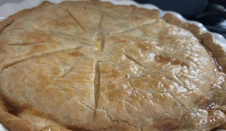 A finished chicken pot pie browned up